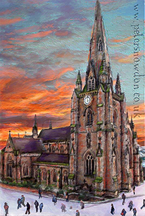 Landscape painting , Bullring church at Sunset